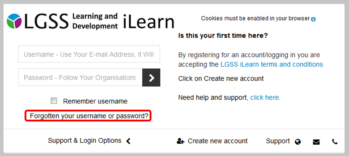 reset password on the login page